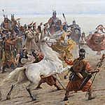 Feszty Árpád: A táltos imája az oltár előtt (Magyarok bejövetele, részlet 2- A feláldozásra szánt fehér ló) (id: 18591)