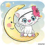 Cute Cartoon white kitten on the moon (id: 18991) vászonkép óra