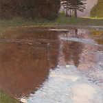 Gustav Klimt: Reggel a tónál, az Egelsee (színverzió 2) (id: 19791) falikép keretezve