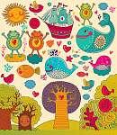 Vektoros illusztráció állatokkal (id: 4691) falikép keretezve