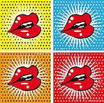 Nyílt Szexi vörös piros ajkak fogakkal pop art hátterekkel (id: 5591) vászonkép