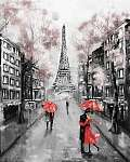 Olajfestmény, Párizs. európai városi táj. Franciaország, Háttérk (id: 10292) falikép keretezve
