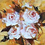 Fehér rózsák, kézi festés (id: 10892) többrészes vászonkép