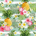 Pineapples and Tropical Flowers Geometry Background - Vintage Se vászonkép, poszter vagy falikép