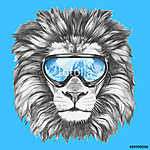 Portrait of Lion with ski goggles. Hand drawn illustration. vászonkép, poszter vagy falikép