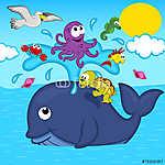 bálna és tengeri állatok - vektoros illusztráció, eps (id: 4492) tapéta
