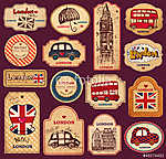 Vintage tags and labels with London symbols vászonkép, poszter vagy falikép