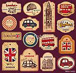 Vintage címkék és címkék londoni szimbólumokkal (id: 4692)
