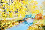 olajfestmény táj - színes őszi erdő (id: 4892) vászonkép óra