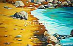 tengerpart és hullámok, olajfestés vászonra, illusztráció (id: 4992) poszter