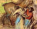 Edgar Degas: Két nő lócsutakolás közben (id: 892) vászonkép óra