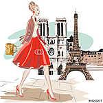 A vörös szoknya nő, Párizs közelében, az Eiffel-torony közelében (id: 9292) többrészes vászonkép