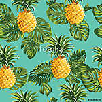 Pineapples and Tropical Leaves Background vászonkép, poszter vagy falikép