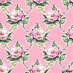 Seamless pattern, watercolor pink roses (id: 14193) vászonkép