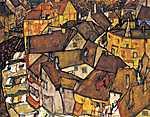 Egon Schiele: Krumau, házak félholdja (id: 3093) vászonkép óra