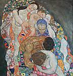 Gustav Klimt: Élet és halál (részlet II.) (id: 3593) vászonkép óra