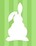 DIY - Húsvéti nyuszi, zöld csíkos háttérrel 2. (id: 4093) vászonkép óra