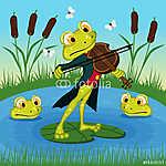 Béka játszik a hegedű - vektoros illusztráció, eps (id: 4493) poszter