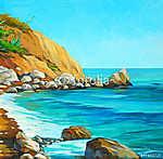 mediterrán tengerpart, strand és öböl, festmény b (id: 4993) vászonkép óra
