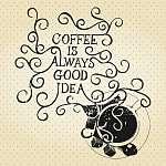 A kávé mindig jó ötlet - retro stílus (id: 6893) falikép keretezve