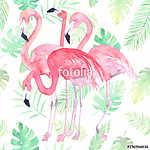Akvarell nélküli varázsa flamingóval és tropikus levelekkel (id: 11594) vászonkép óra