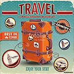 Vintage utazótáska-plakát címkével (id: 11794) falikép keretezve