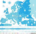 vektor Európában időzónák nagy részletes térkép helyszínnel és c (id: 11994)