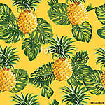 Pinapples and Tropical Leaves Background vászonkép, poszter vagy falikép