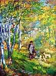 Fiatal férfi a Fontainebleau-i erdőben (id: 1394) tapéta