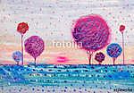 Trees, oil painting, artistic background (id: 15994) vászonkép