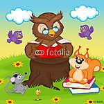 owl egy állatot olvasó könyv - vektoros illusztráció, eps (id: 4494) vászonkép