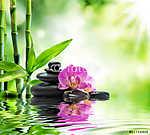Háttér - orchideák fekete kövek és bambusz a vízen (id: 4594) falikép keretezve