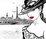 Fiatal nő a szajna folyó közelében Párizsban (id: 5094)