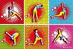Pop Art, jóga és pilates gyakorlatok (id: 5594) falikép keretezve