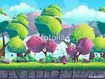 Zökkenőmentes rajzfilm természetes táj futurisztikus fákkal (id: 11195) falikép keretezve
