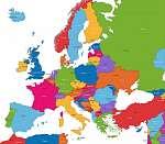 Színes Európa térkép országokkal és fővárosokkal (id: 11995)