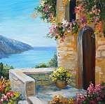 oil painting - house near the sea, colorful flowers, summer seas (id: 13895) vászonkép óra