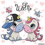 Two Cartoon Unicorns on a hearts background (id: 18695) falikép keretezve