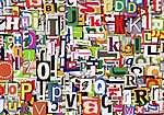 Betűk az újságokból (id: 2195) vászonkép óra