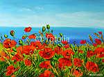 mákmező a tenger közelében, színes tengerpart, művészeti olajfes (id: 4895) falikép keretezve