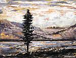 olajfestmény - hegy, tó, köd, fa. Illusztráció vad n (id: 10296) poszter