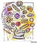 Sütőipari vázlat (id: 10396) falikép keretezve