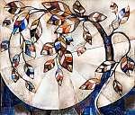 olajfestmény vászonra, stilizált fa. Modern műalkotás. belső (id: 11896) poszter