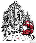Nő vásárlás Londonban (id: 5096) poszter