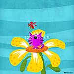 Macska ül a virágban (id: 5296) vászonkép
