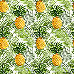 Tropical Palm Leaves and Pineapples Background - Seamless Patter vászonkép, poszter vagy falikép