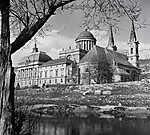 Esztergom Bazilika, Prímási palota és a Loyolai Szent Ignác templom(1955) (id: 20597) vászonkép óra