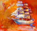 Hajó az óceánban (id: 4397) többrészes vászonkép