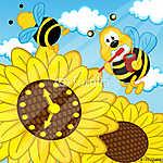 méh kefe fogai néz nézni napraforgó - eps (id: 4497) falikép keretezve