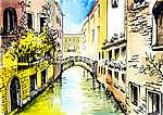 akvarellfestés - szanál Velencében (id: 4897) poszter